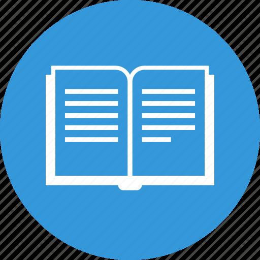 book, case study, education, library, open book, read, school icon