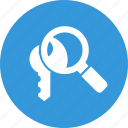 glass, key, keyword, magnifier, magnifying, research, search icon