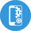 cogwheel, mobile, mobile seo, seo, settings, smartphone icon