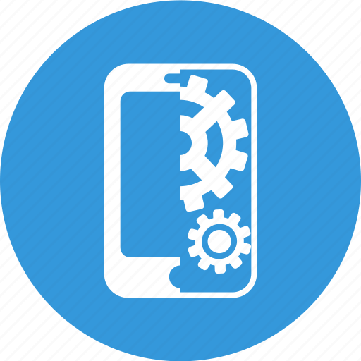 cogwheel, mobile, mobile seo, seo, settings, smartphone icon