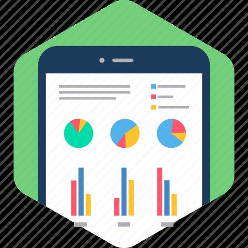 analytics, chart, device, diagram, graph, phone, presentation icon