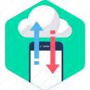 cloud, data, download, mobile, server, storage, upload icon