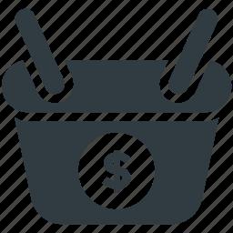 basket, basket of dollars, basket of money, dollar, money icon