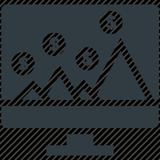 cash interface, cash method, computer, dollar circles, online business icon