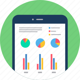 analytics, chart, diagram, graph, mobile, report, smartphone icon