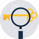 find, key, magnifier, search, seo, web, zoom icon