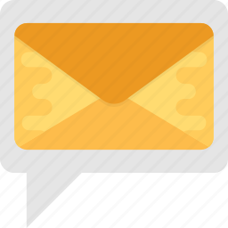 communication, envelope with speech bubble, message, sms, text message icon