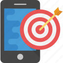 marketing management, mobile marketing, online marketing, smartphone with dartboard, target marketing icon