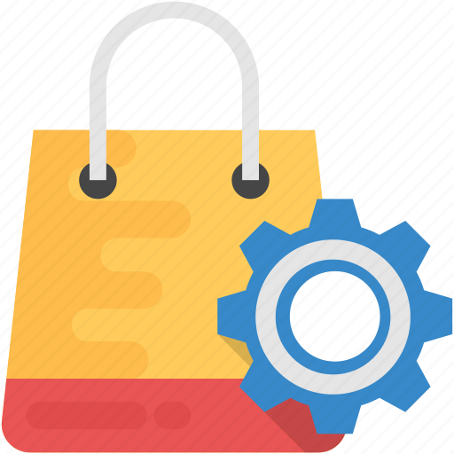 digital shopping, e-commerce management, shopping bag with gear, shopping industry, shopping technology icon