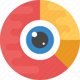 data analysis, data analytics, eye inside pie chart, statistical graphics, statistical vision icon
