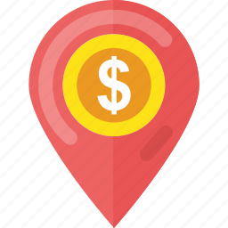 bank locator, business location, dollar map, dollar map pointer, navigation concept icon
