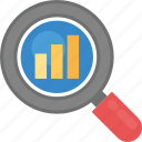 chart magnifying, data analysis, economic search, graphical analysis, search graph icon