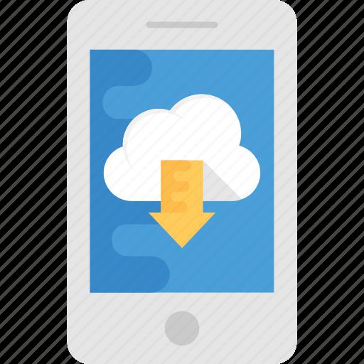 backup, cloud download, cloud storage, mobile backup, mobile data storage icon