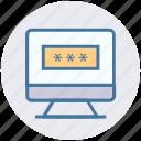 code, lcd, login, monitor, password, seo, site icon