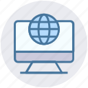 browser, globe, lcd, monitor, seo, site, world icon