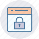 lock, page, password, security, seo, web page, website icon