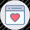 favorite, heart, page, romance, seo, web page, website icon