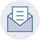 document, email, envelope, letter, message, opened, seo icon