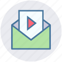 email, envelope, letter, media paper, message, opened, seo icon