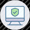 accept, lcd, monitor, secure, seo, shield, site icon