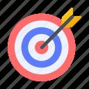 achievement, aim, arrow, bulls eye, goal, strategy, target icon