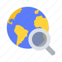 discover, global, magnifier, search, web, world icon