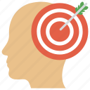focus, intentions, marketing strategy, target brain icon