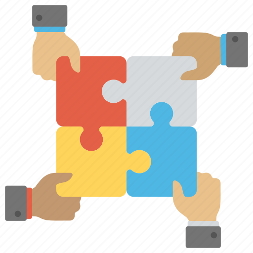 collaboration, connecting jigsaw, teamwork, togetherness, working together icon