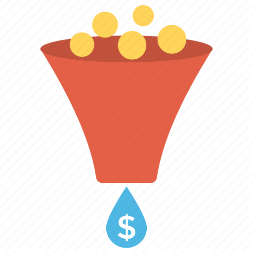 business conversion concept, conversion rate, dollar coins filter, funnel converting coins, sale funnel icon