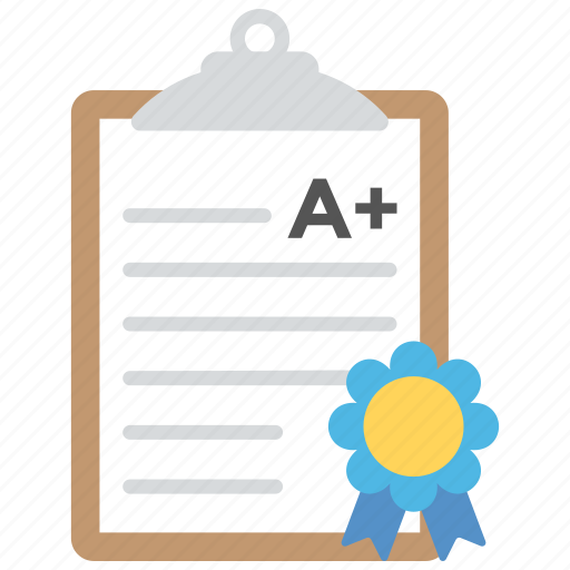 academic grading, approved grading, deed, diploma, grading certificate icon
