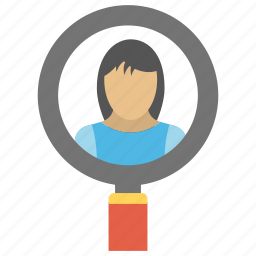 finding target market, new customer, target audience finding, target market, woman under magnifier icon