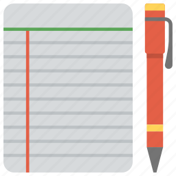 diary, jotter, notebook, notepad and pen, notes icon