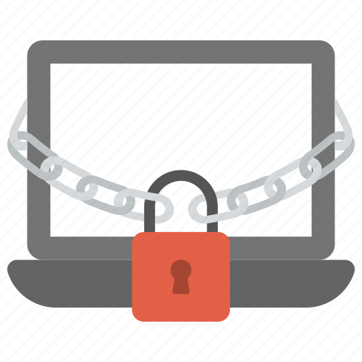 computer security concept, data security concept, internet security, laptop protected by chain, padlock and notebook icon