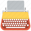 typewriter, vintage typing device, writing, writing app, writing device icon