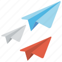 digital marketing concept, direct message, email marketing, origami paper planes, paper planes icon