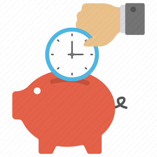 piggy bank time, save time and money, time importance, time is money, time saving concept icon