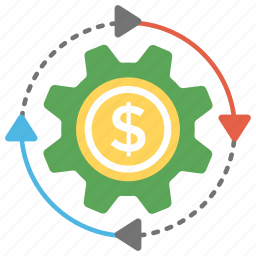 business development, business marketing, dollar inside gear, industrial marketing, marketing concept icon