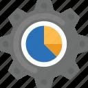 business management, chart inside gear, financial management, financial technology, statistics icon