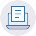 document, file, laptop, notebook, paper, report, seo icon