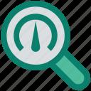 dashboard, find, magnifier, optimization, seo performance, speedometer icon