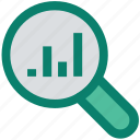 analytics, chart, graph, lookup, magnifier, search, seo icon