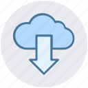 arrow, cloud, down, download, marketing, online, seo icon