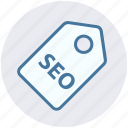badge, label, marketing, seo, seo tag, tag, title icon