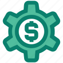 business, cogwheel, dollar, gear, money, seo, setting icon