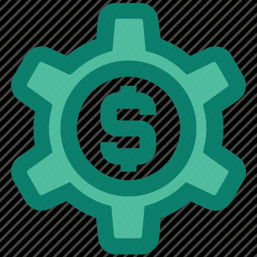 business, cogwheel, dollar, gear, money, seo, setting icon