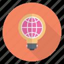 bulb, seo, global, idea, world icon