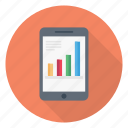 barchart, growth, mobile, phone, report icon