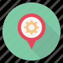 gear, location, map, pin, setting