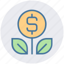dollar, dollar plant, finance, financial, growth, money, payment icon