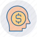business mind, businessman, dollar sign, head, marketing, mind icon